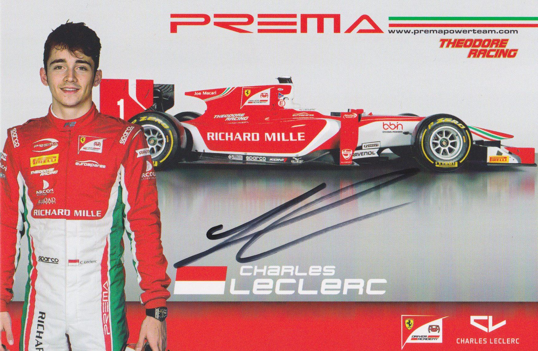 Charles Leclerc Prema 2017 Card