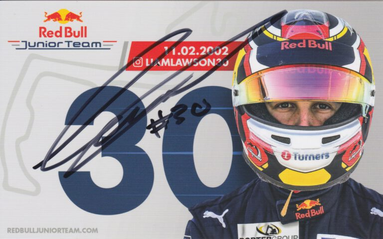 Liam Lawson Red Bull Junior Team Card