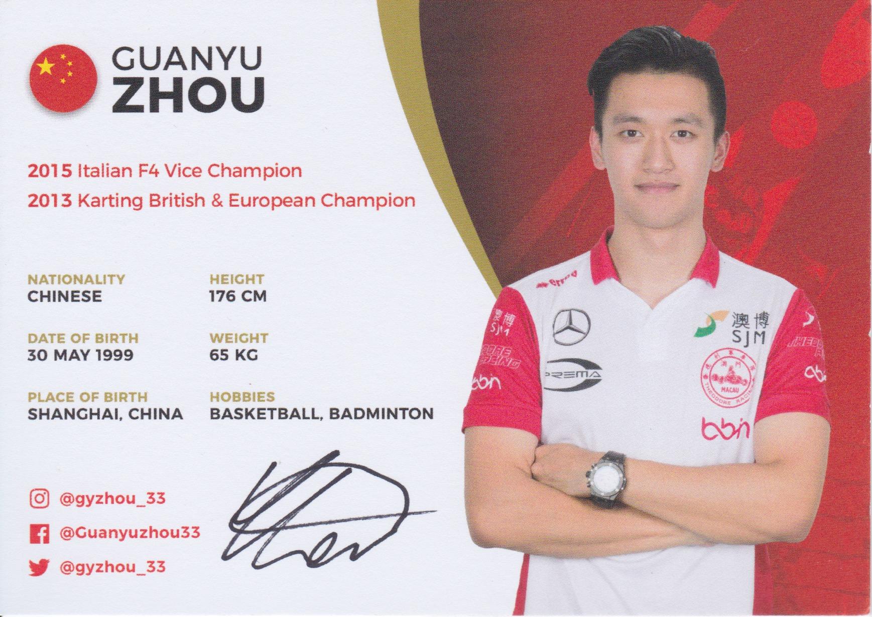 Guanyu Zhou Theodore Racing 2018